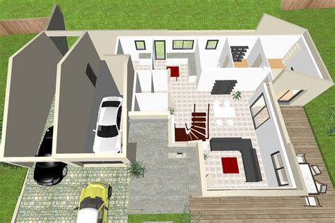 model de chambre a coucher maison en quot t quot à étage avec mezzanine crea07