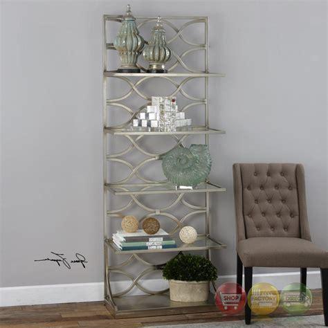 Glass Shelf Etagere by Lashaya Forged Silver Leaf Iron Etagere With 4