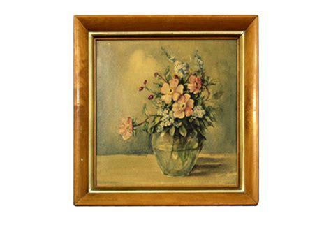 vintage framed floral painting omero home
