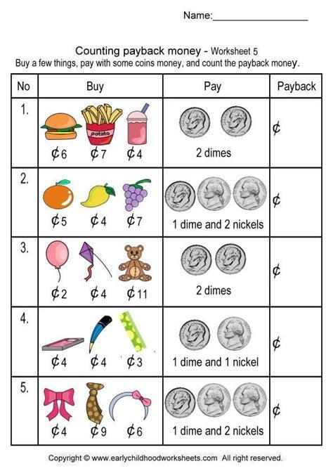 worksheets on counting money for kindergarten worksheets