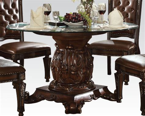 Dining Set w/ Round Glass Table Vendome Cherry by Acme