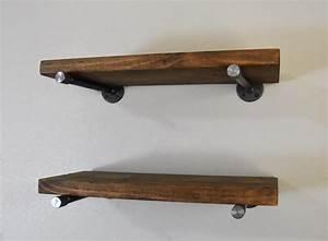 Industrial Floating Shelf, Rustic Iron Pipe Brackets, 24