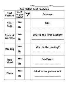nonfiction text features graphic organizer 2nd grade