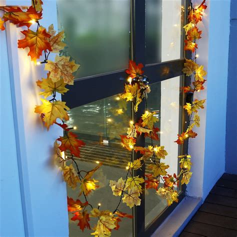 fall string lights battery powered 1 65m 10leds fall leaves shaped indoor