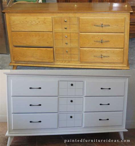 Small Mid Century Dresser Painted White  Dresser Refinish