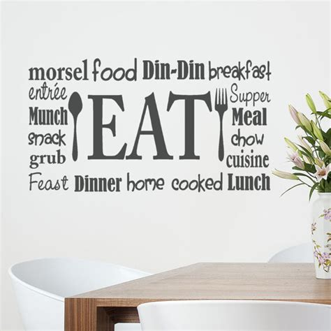 Transfers For Kitchen Walls by Kitchen Wall Decal Eat Sign Vinyl Lettering Fork And