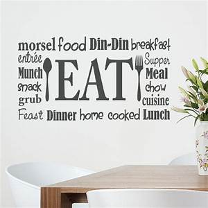 Kitchen wall decal eat sign vinyl lettering fork and for Vinyl lettering for kitchen walls