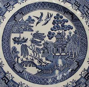 Old Blue Willow China Pattern Plate Stock Photo - Image of ...