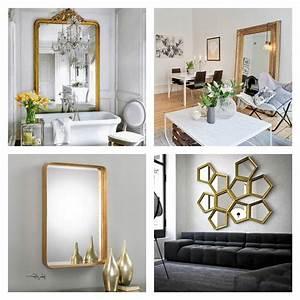 grand miroir dore idees pour une decoration interieur With salle de bain design avec cadres décoratifs pour salon