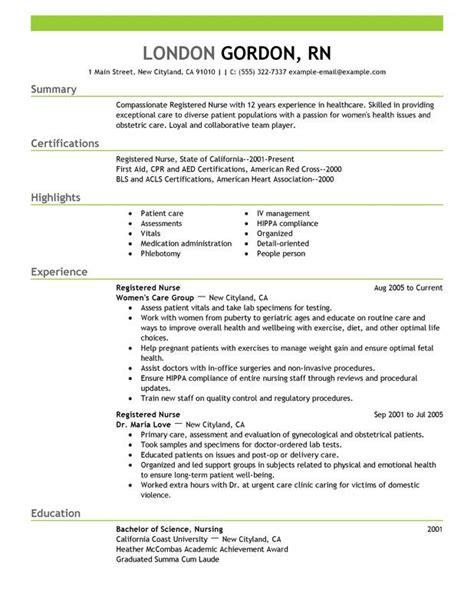 registered nurse resume sample work pinterest