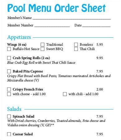 order sheet template   sample  format