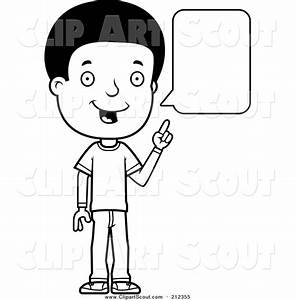 Clipart of a Black and White Lineart Adolescent Teenage ...