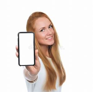 Young Woman Show Display Of Mobile Cell Phone With Blank ...
