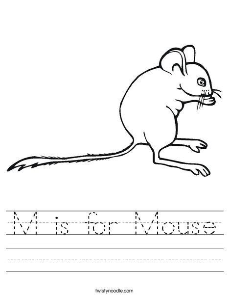 M Is For Mouse Worksheet  Twisty Noodle  Letter M  Pinterest  Worksheets, Mice And Kindergarten