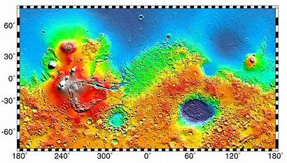 Mars Map Exploration Martian Geology Topography Crater