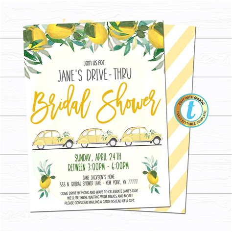 Drive By Bridal Shower Parade Invite TidyLady Printables