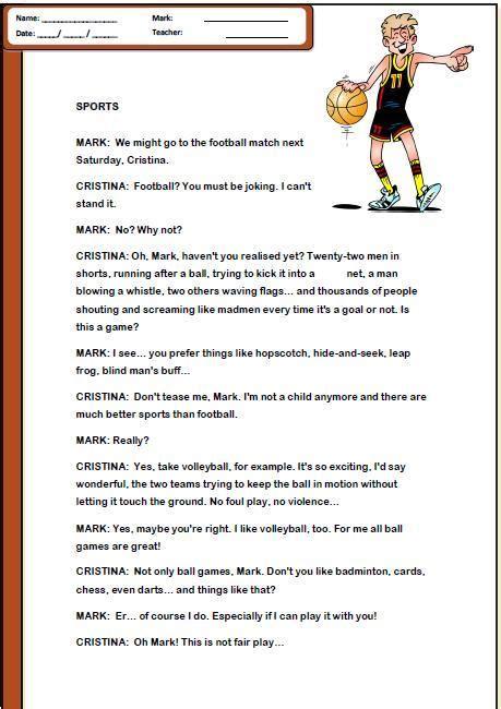sports reading comprehension worksheet