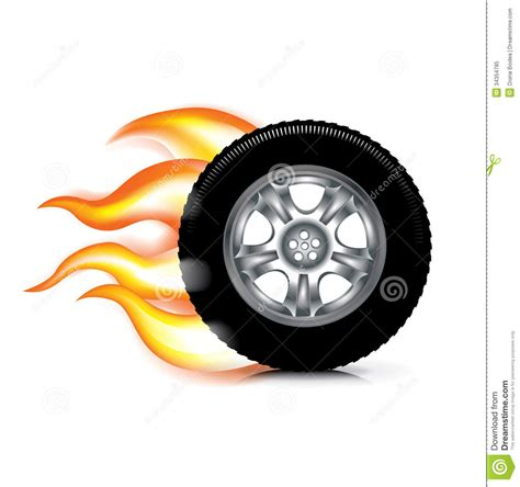 Wheel/tire And Fire Flames Isolated On White Stock Vector ...