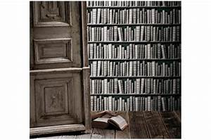 Bibliothèque Design Pas Cher : papier peint biblioth que grise papier peint trompe l 39 oeil pas cher ~ Teatrodelosmanantiales.com Idées de Décoration