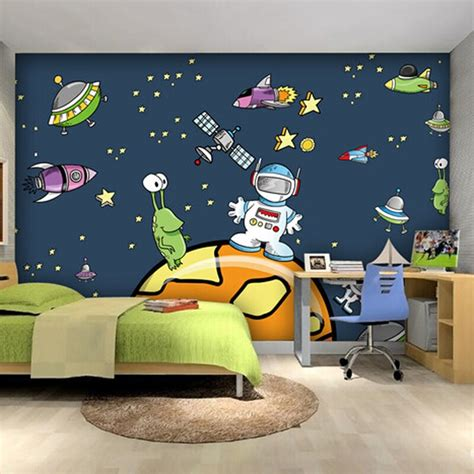 custom cartoon ruimte ruimteschip behang kinderkamer