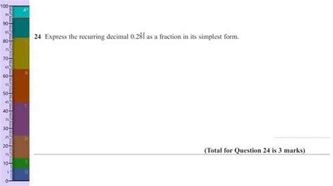 recurring decimals into fractions gcse questions