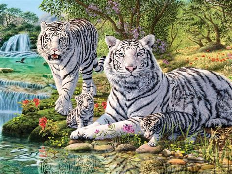 animals white tiger   cubs jungle waterfall art