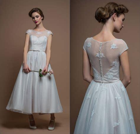 simple winter wedding dresses designer sheer scoop sleeves applique skirt tea length wedding dresses 2015 sheer