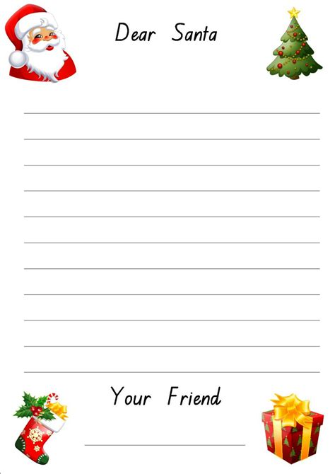 printable letter  santa paper