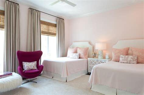 pink stripe headboard with gray nightstand