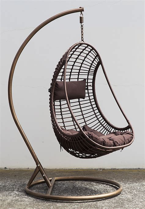 outdoor hanging chair w cushion coffee pe wicker bird