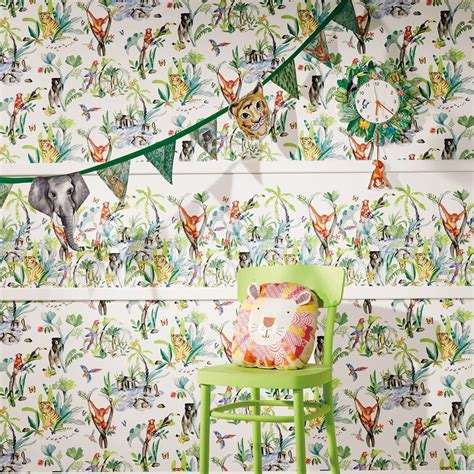 Childrens Animal Wallpaper Uk - arthouse jungle mania animal pattern wallpaper childrens