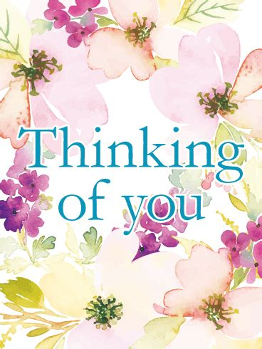 flowery thinking   card birthday greeting cards