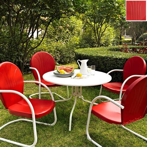 Shop Crosley Furniture Griffith 5 Piece Red Metal Frame