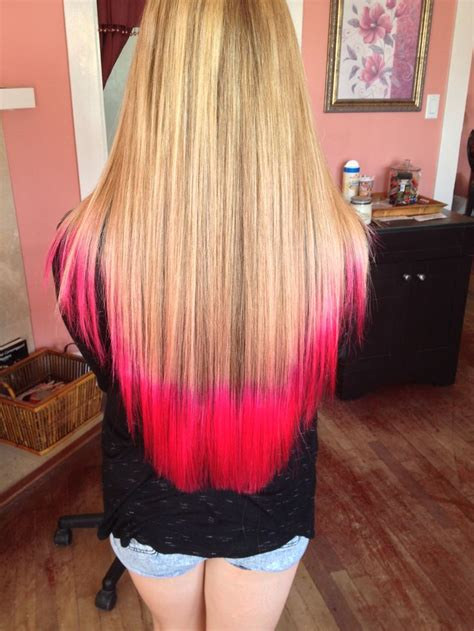 atomic pink tips  blonde hair colored tips