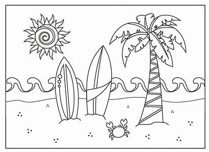 Coloring Summer Pages Sheets Beach Scene Printable