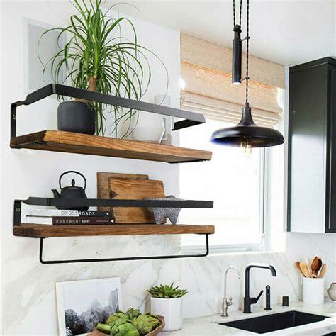 set   industrial wood shelves rustic wall utility stuff storage shelving rack ebay