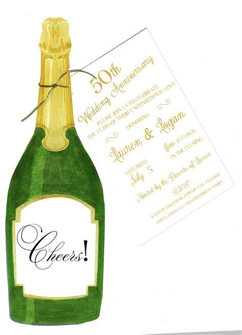 champagne bottle party invitation  glitter