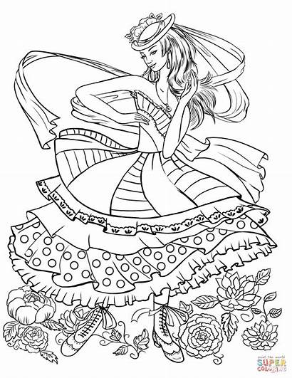Coloring Pages Dancing Clothing Barbie Printable Clothes