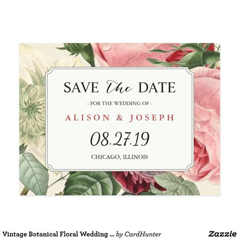Vintage Botanical Floral Wedding Save the Date