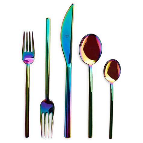 plastic kitchen knives rainbow shine iridescent and holographic decor