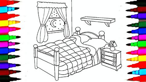 coloring pages bedrooms  bedsheet  curtain drawing pages