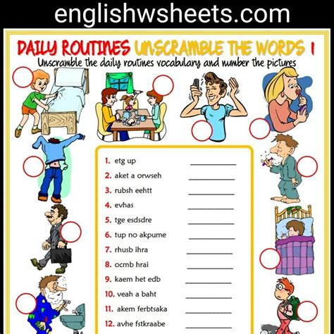Daily Routines Esl Printable Unscramble The Words Worksheets For Kids #daily #routines
