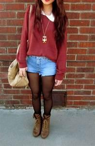 Red plain sweatshirt with pocket/White collar shirt/Shorts/Black see through leggings/Brown ...