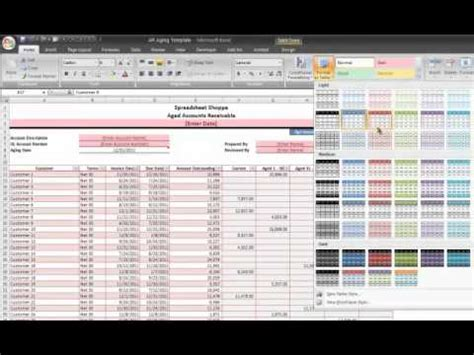 ar aging excel template tutorial video