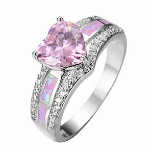 cute heart pink sapphire jewelry hot pink fire opal women With pink wedding rings for women