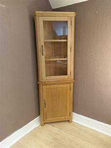 Toronto Solid Oak Tall Corner Display Cabinet / Cupboard