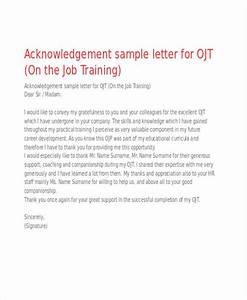 Sample Acknowledgement Letter For On The Job Training Cover Letter