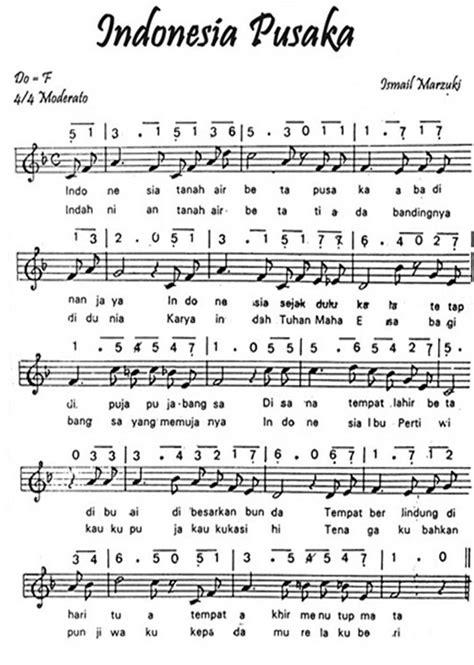 not lagu tanah air beta notasi partitur lirik lagu indonesia pusaka lagu nasional indonesia