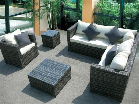 rattan wicker conservatory outdoor garden furniture set corner sofa table ebay