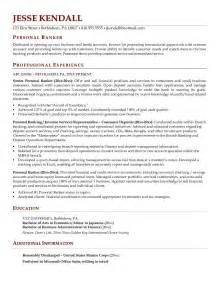 personal banker resumes sles personal banker resume exle free resume templates
